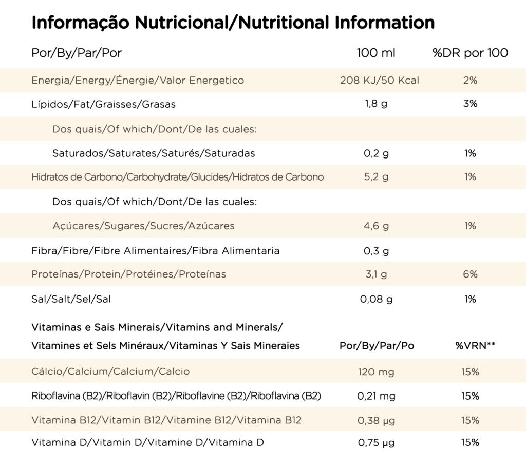 Tabela nutricional Shoyce soja baunilha