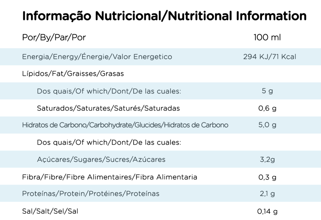 Tabela Nutricional Shoyce cuisine soja